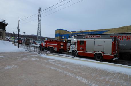 Прибытие пожарных расчётов к месту условного терракта